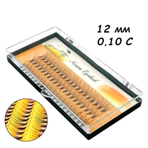 Ресницы пучковые накладные 12мм 0.10 С шелковые черные Nesura