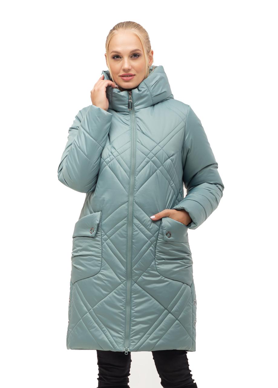 Стильная женская куртка зимняя цвета мята
