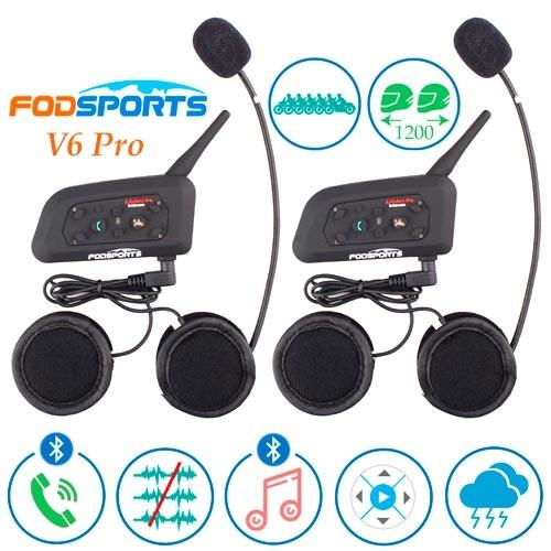 Мотогарнитура Bluetooth на шолом, ПАРА, інтерком Fodsports V6 Pro 1200