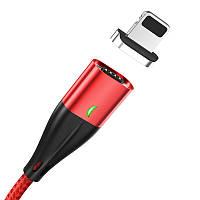 Кабель магнитный для быстрой зарядки и передачи данных Topk AM61 Apple iPhone 1m 3.0A в оплётке Red