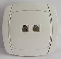 Розетка белая телефонная RJ11 двойная LXL Beta