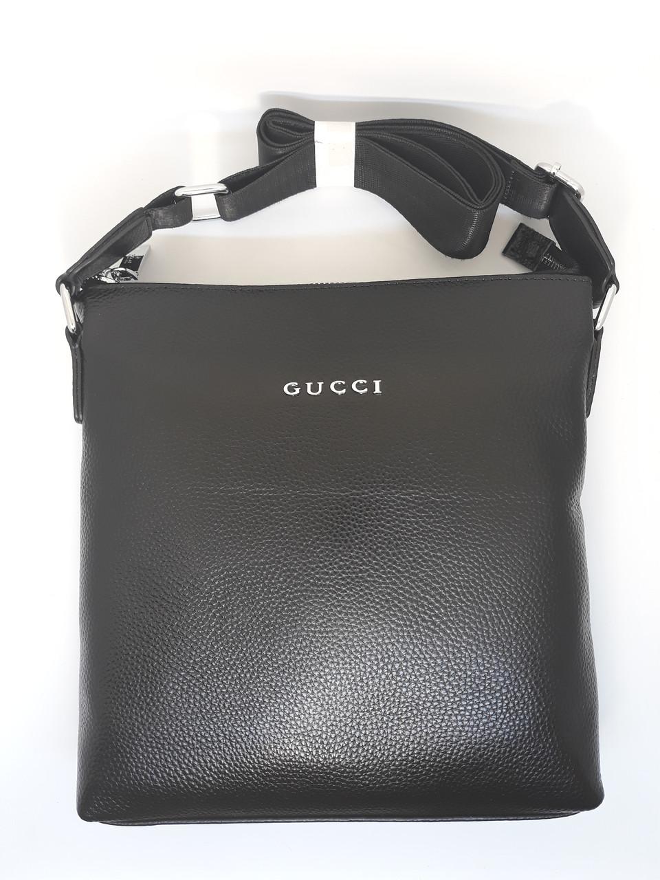 Мужская кожаная сумка черная барсетка на плечо