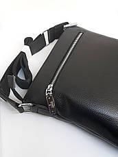 Мужская кожаная сумка черная барсетка на плечо, фото 3