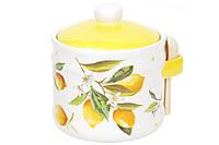 Банка керамическая 450мл с деревянной ложкой Сочные лимоны BonaDi DM080-Y