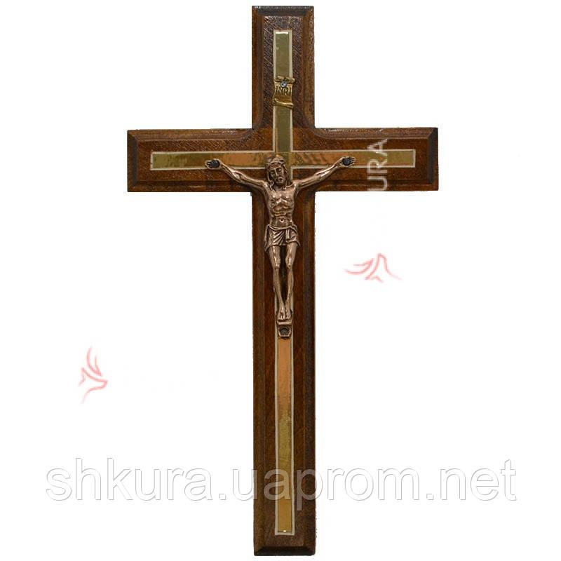 Резной крест К03, орех, медь