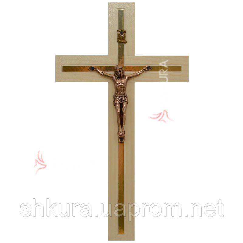 Резной крест К03, ясень, медь