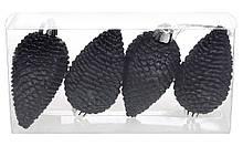 Набор шишек, 8см, цвет - чёрный оникс, матовый с глиттером, 4шт BonaDi 147-890