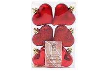 Набор елочых украшений Сердца 6см, цвет - красный, 6шт: глянец, матовый, глиттер - по 2шт BonaDi 147-480