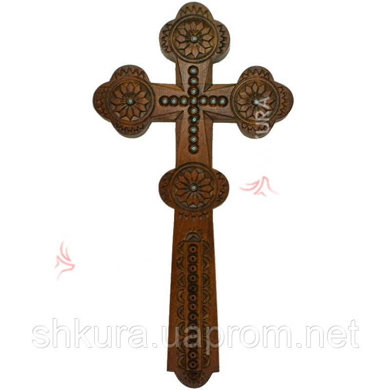 Резной крест К10, орех