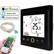 Терморегулятор Wi-Fi для ел теплої підлоги 220В 16А BHT-002-GBLW, чорний