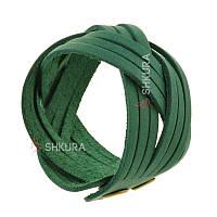 Кожаный браслет косичка зеленый, фото 1