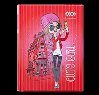 Блокнот CUTE GIRL, А6, 64 л., клетка, тв. обл., мат. ламин., глиттер, лак, красный, KIDS Line