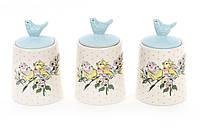 Набор (3шт) керамических банок 175мл для сыпучих продуктов Птички BonaDi DK0070-D