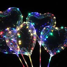 5x Кулька повітряний надувний серце світиться з LED-підсвіткою, 45 см