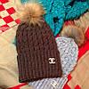 Вязаная шапка Шанель с натуральным помпоном (разные цвета), фото 4