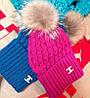 Вязаная шапка Шанель с натуральным помпоном (разные цвета), фото 5