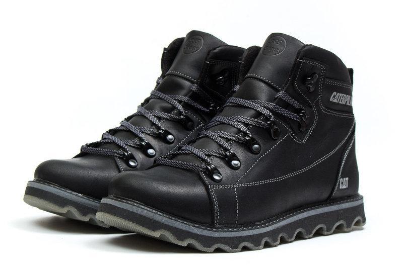 Мужские зимние кожаные ботинки CAT Expensive Black Night .