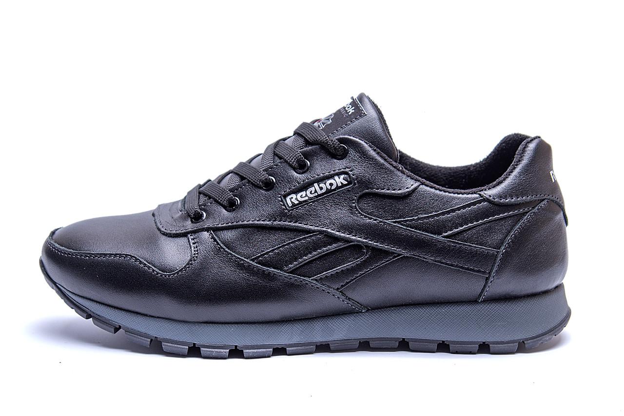 Мужские зимние кожаные кроссовки  Reebok Classic Black .