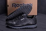 Мужские зимние кожаные кроссовки  Reebok Classic Black ., фото 7