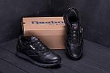 Мужские зимние кожаные кроссовки  Reebok Classic Black ., фото 9