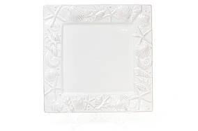 Керамічне Блюдо квадратне 26см Морські мотиви, колір - білий BonaDi 545-374