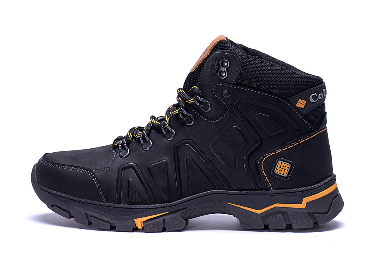 Мужские зимние кожаные ботинки Columbia Black  .