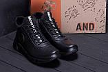 Мужские зимние кожаные кроссовки ASL  Black New Line, фото 8