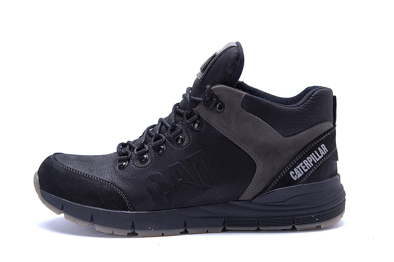 Мужские зимние кожаные ботинки CATERPILLAR Black  .