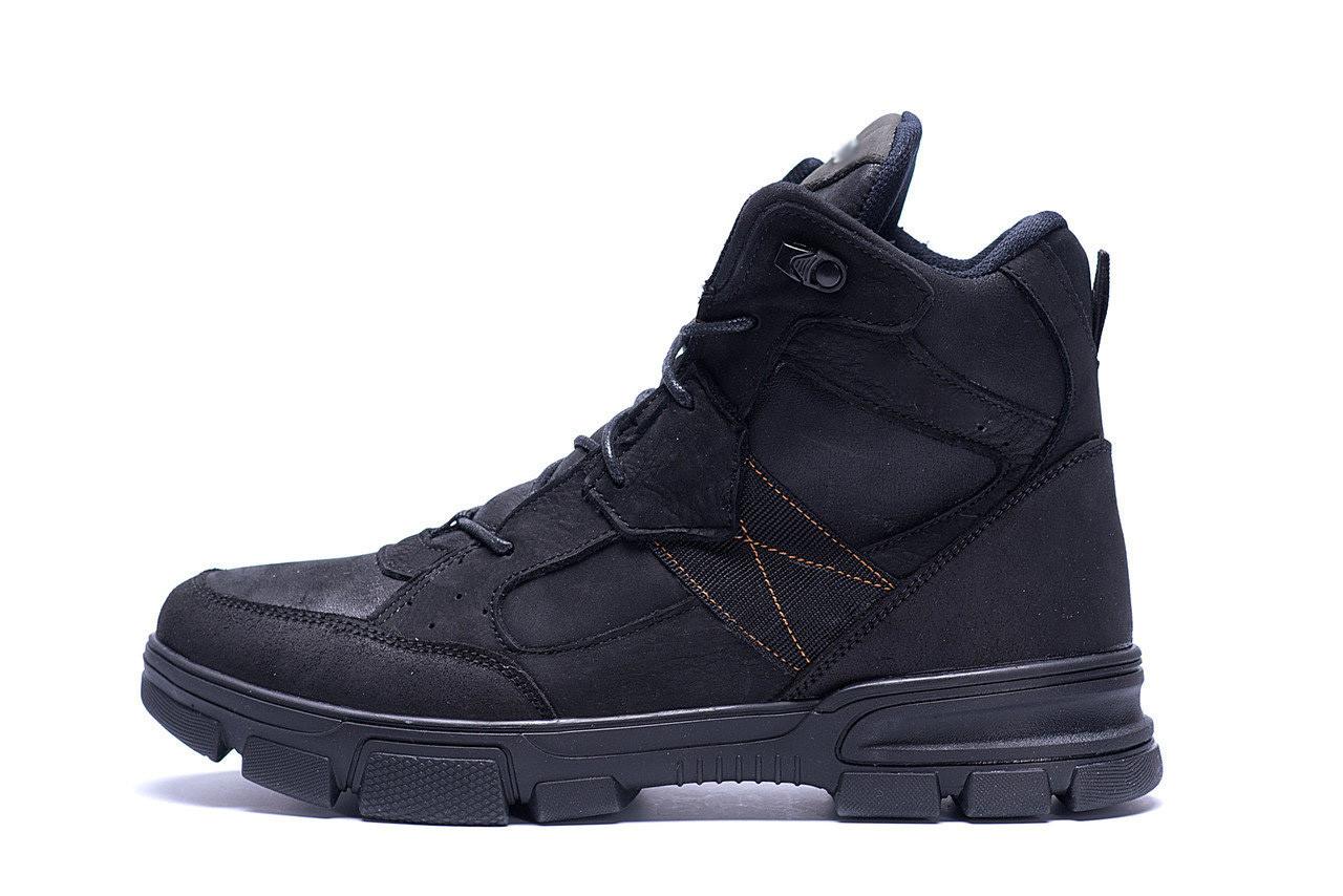 Мужские зимние кожаные ботинки  Е-series  Black .
