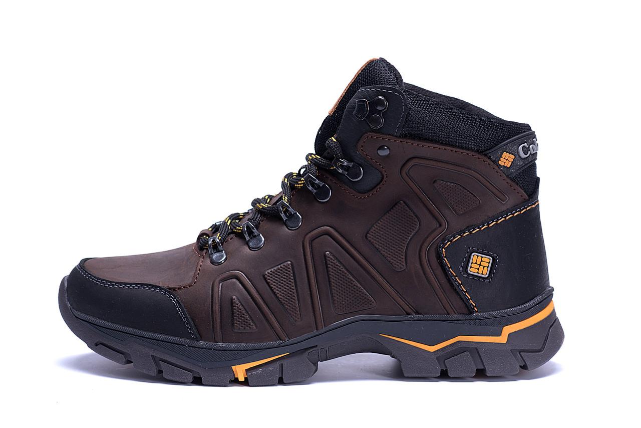 Мужские зимние кожаные ботинки Columbia Chocolate  .