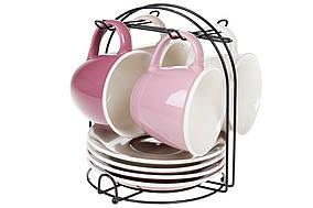 Набір (4 шт) порцелянових чашок 170мл з блюдцями на металевій підставці Лавандове поле BonaDi 432-010