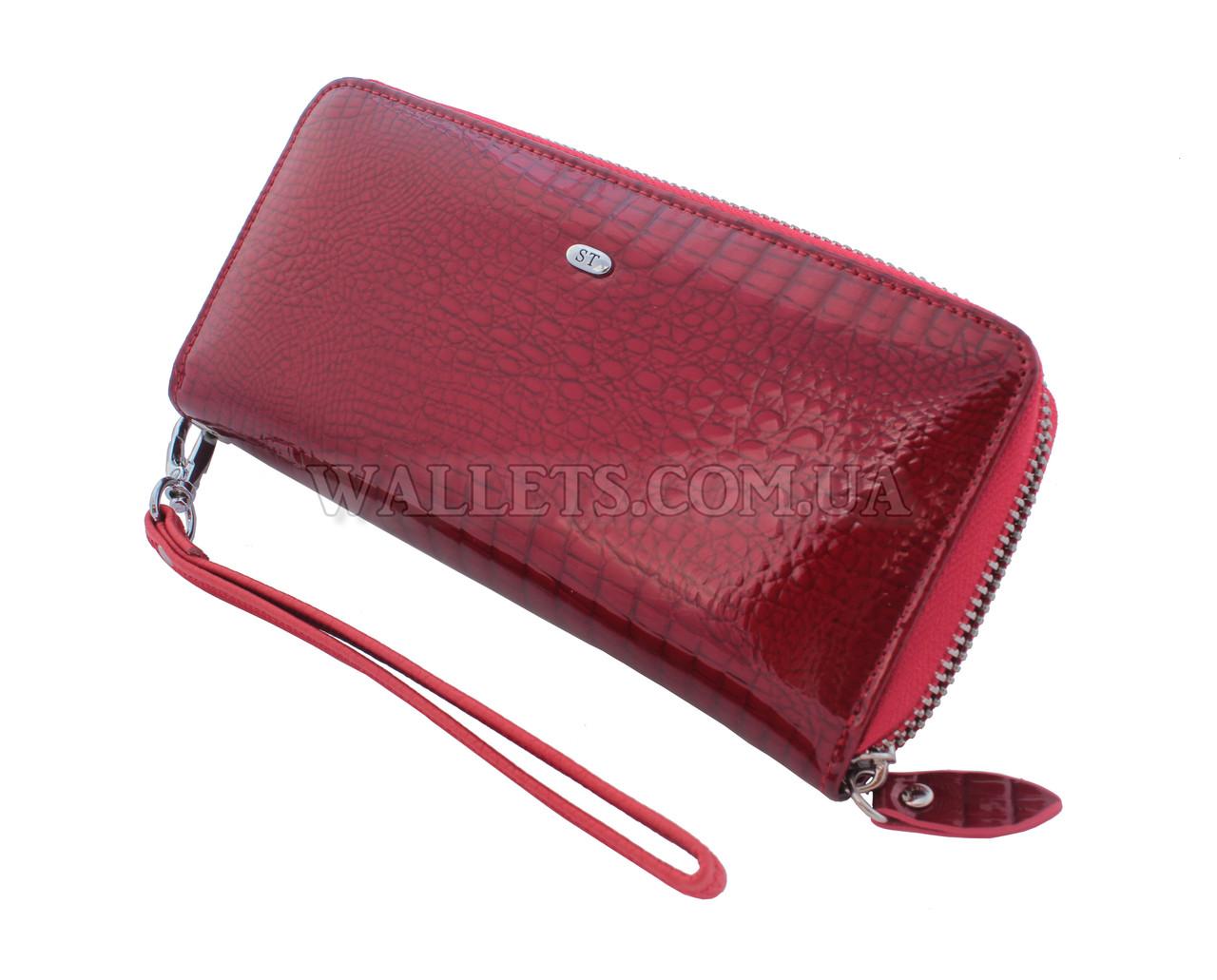d96324c27dd6 Женский кожаный кошелек ST Leather Accessories на молнии, красный, лак. -  Интернет-