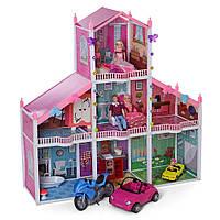Будиночок 118-115-32см, 3 поверхи, лялька 4шт, 29см, в кор-ке, 64-36-27см