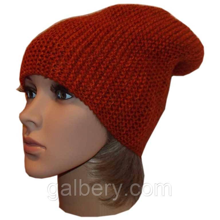 Женская вязаная шапка-носок, терракотового цвета объемной крупной вязки