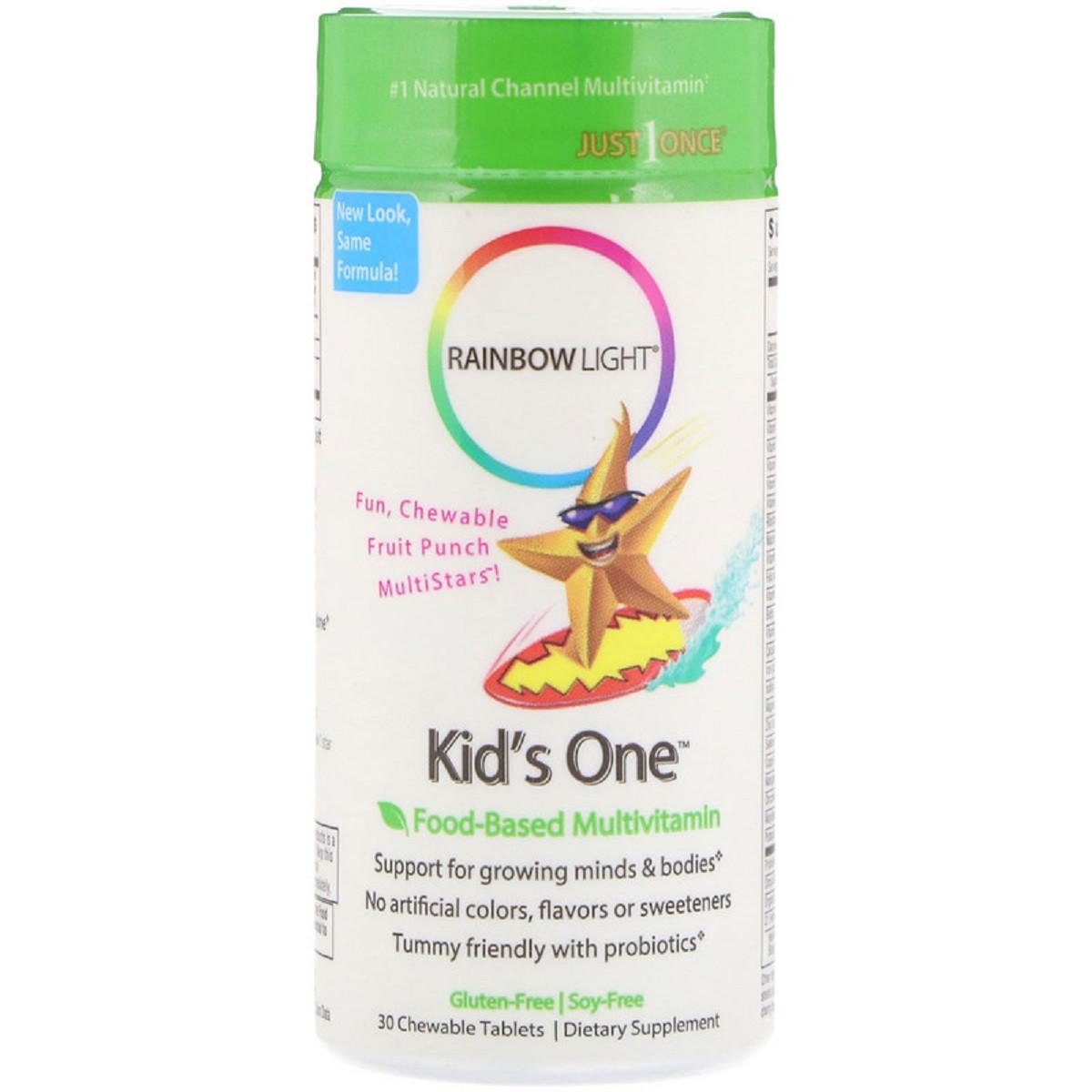Мультивитамины Для Детей, Kid's One, Rainbow Light, Фруктовый Пунш, 30 жевательных таблеток