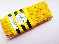 Тесьма зигзаг вьюнок ( зиг-заг )  5-6 мм, Тасьма зигзаг в'юнок, в'юнчик ( 30 метрів) жовто-гарячий