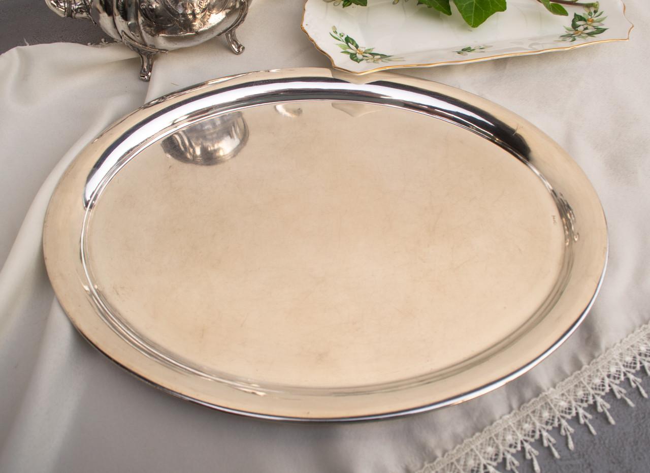 Посеребренный овальный поднос, серебрение, мельхиор, Англия, винтаж