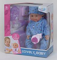 Пупс интерактивный кукла 42 см 8 функций аксессуары Warmbaby 8040 TD-02 B