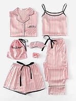 Комплект шелковый в полоску для сна, дома из 7 предметов. Пижама женская в стиле VS, размер M (розовый)