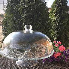 Тортовниця скляна з кришкою-куполом на ніжці HLS (6845), фото 3