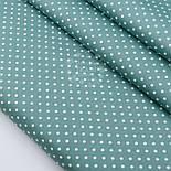"""Лоскут сатина """"Горошек 5 мм"""", фон ткани - цвет морской зелени, №2888с, размер 28*80 см, фото 2"""