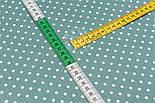 """Лоскут сатина """"Горошек 5 мм"""", фон ткани - цвет морской зелени, №2888с, размер 28*80 см, фото 4"""