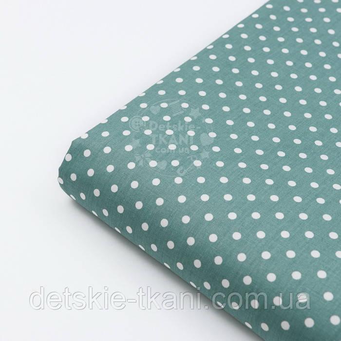 """Лоскут сатина """"Горошек 5 мм"""", фон ткани - цвет морской зелени, №2888с, размер 28*80 см"""