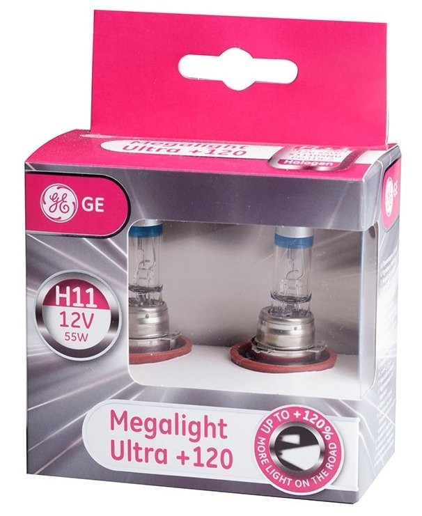 Автолампа галоген GE H11 55W 12V (2 шт./картонбокс) Megalight Ultra +120%
