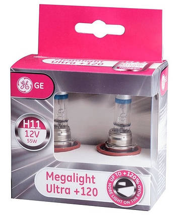 Автолампа галоген GE H11 55W 12V (2 шт./картонбокс) Megalight Ultra +120%, фото 2