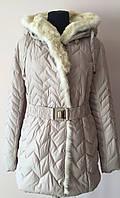 Зимняя женская куртка с натуральным мехом больших размеров