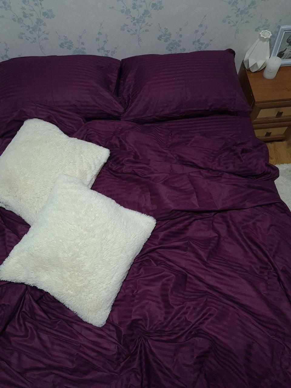 Комплект постельного  белья Страйп Сатин Фиолетовый