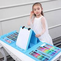 Набор художника синий для детского творчества в чемодане 208 предметов