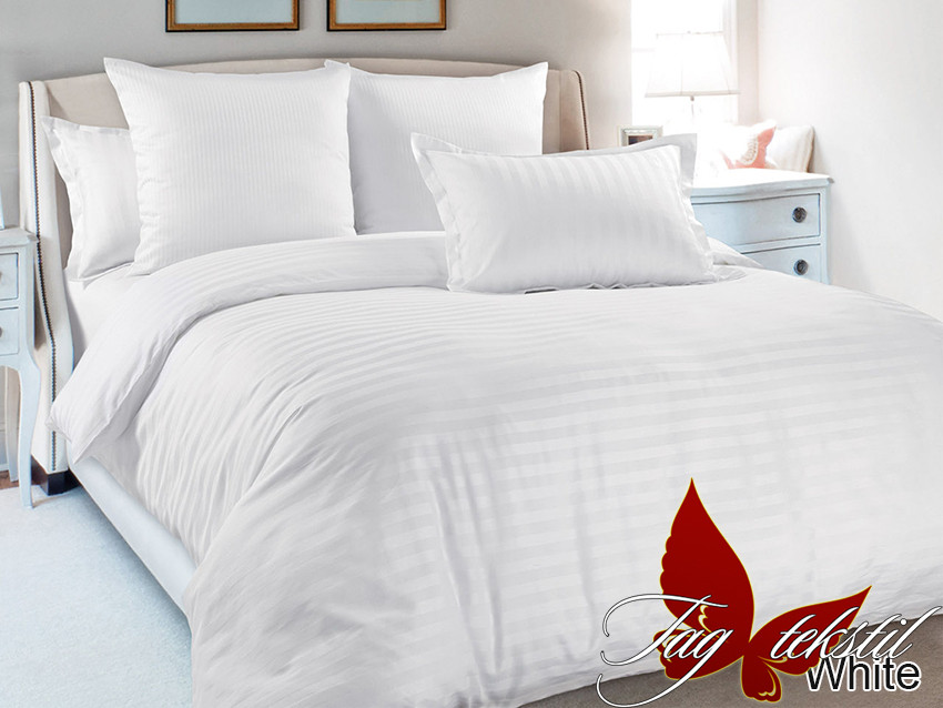 Постельное белье страйп сатин Белый, полуторный комплект