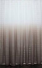 """Тюль растяжка """"Омбре"""" на батисте (под лён) с утяжелителем, цвет болотный с белым 593т"""